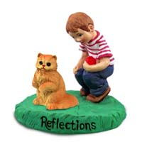 Red Persian Cat w/Boy Figurine
