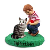 Silver Tabby Maine Coon Cat w/Boy Figurine