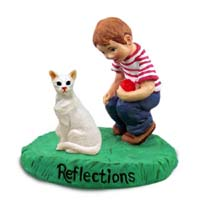 White Oriental Cat w/Boy Figurine
