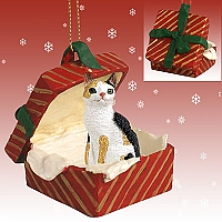 Tortoise & White Japanese Bobtail Gift Box Red Ornament