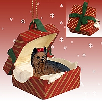 Yorkshire Terrier Gift Box Red Ornament