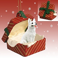 German Shepherd White Gift Box Red Ornament