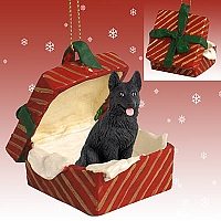 German Shepherd Black Gift Box Red Ornament