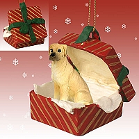 Great Dane Fawn w/Uncropped Ears Gift Box Red Ornament