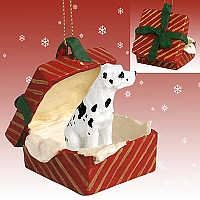 Great Dane Harlequin w/Uncropped Ears Gift Box Red Ornament