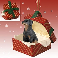 Doberman Pinscher Black w/Uncropped Ears Gift Box Red Ornament