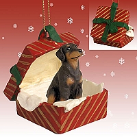 Doberman Pinscher Red w/Uncropped Ears Gift Box Red Ornament
