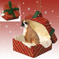 Boxer w/Uncropped Ears Gift Box Red Ornament