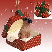 Boxer Tawny w/Uncropped Ears Gift Box Red Ornament