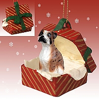 Boxer Brindle w/Uncropped Ears Gift Box Red Ornament