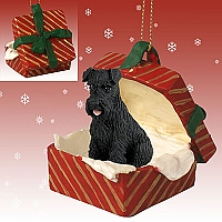 Schnauzer Black w/Uncropped Ears Gift Box Red Ornament