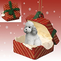 Poodle Gray w/Sport Cut Gift Box Red Ornament
