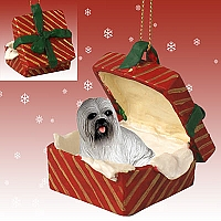 Lhasa Apso Gray Gift Box Red Ornament