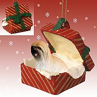 Lhasa Apso Brown Gift Box Red Ornament