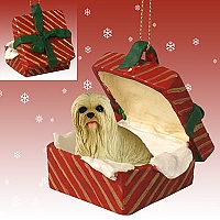 Lhasa Apso Blonde Gift Box Red Ornament
