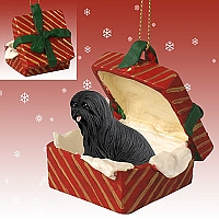 Lhasa Apso Black Gift Box Red Ornament
