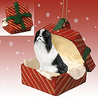 Japanese Chin Black & White Gift Box Red Ornament