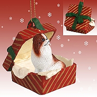 Japanese Chin Red & White Gift Box Red Ornament