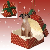 Italian Greyhound Gift Box Red Ornament