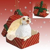Clumber Spaniel Gift Box Red Ornament
