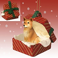 Finnish Spitz Gift Box Red Ornament