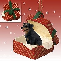 Rottweiler Gift Box Red Ornament
