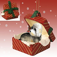 Dandie Dinmont Gift Box Red Ornament