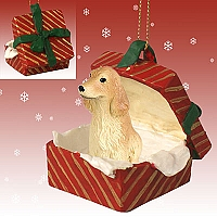 Cocker Spaniel English Blonde Gift Box Red Ornament