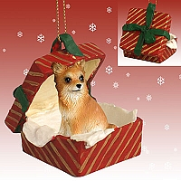 Chihuahua Longhaired Gift Box Red Ornament