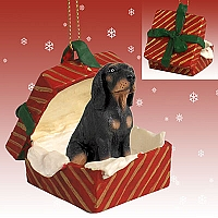 Coonhound Black & Tan Gift Box Red Ornament