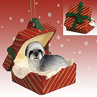 Lhasa Apso Gray w/Sport Cut Gift Box Red Ornament