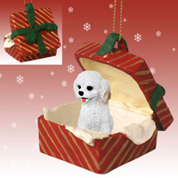 Cockapoo White Gift Box Red Ornament
