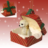 Cockapoo Blond Gift Box Red Ornament
