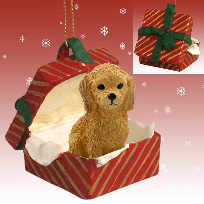 goldendoodle gift box red ornament - Goldendoodle Christmas Decorations