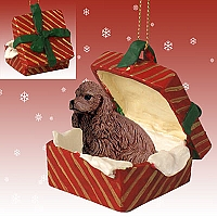 Cocker Spaniel Brown Gift Box Red Ornament