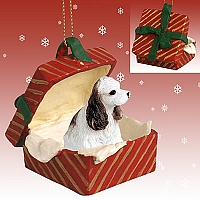 Cocker Spaniel Brown & White Gift Box Red Ornament
