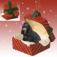 Cocker Spaniel Black & Tan Gift Box Red Ornament