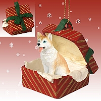 Husky Red & White w/Blue Eyes Gift Box Red Ornament