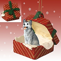 Husky Gray & White w/Brown Eyes Gift Box Red Ornament