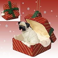 Pug Fawn Gift Box Red Ornament