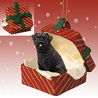 Pug Black Gift Box Red Ornament