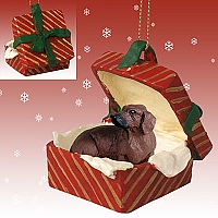 Dachshund Red Gift Box Red Ornament