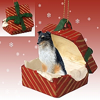 Sheltie Tricolor Gift Box Red Ornament