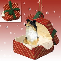 Collie Tricolor Gift Box Red Ornament