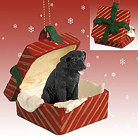 Labrador Retriever Black Gift Box Red Ornament