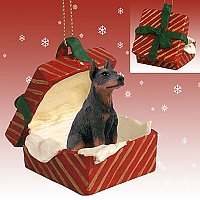 Doberman Pinscher Red w/Cropped Gift Box Red Ornament
