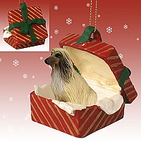 Afghan Tan & White Gift Box Red Ornament