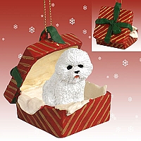 Bichon Frise Gift Box Red Ornament