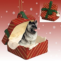 Keeshond Gift Box Red Ornament