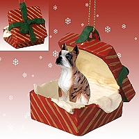Boxer Brindle Gift Box Red Ornament